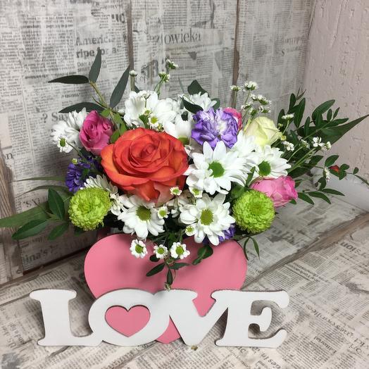 Композиция сердце на день влюблённых: букеты цветов на заказ Flowwow
