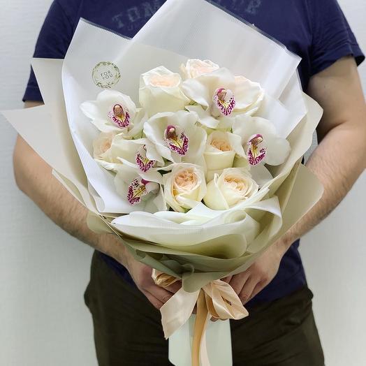 """Букет с орхидеями и пионовидными розами """"Богема"""""""