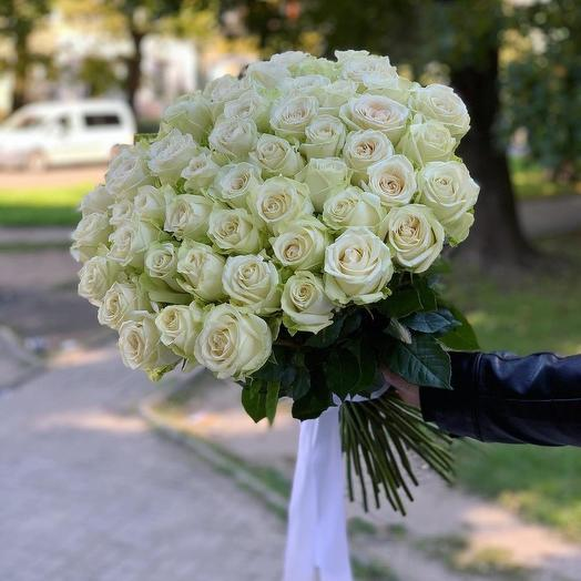 51 белая роза на ленте
