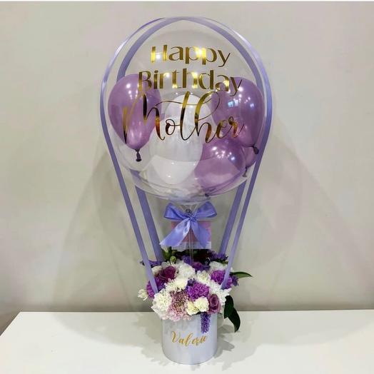 Шар баблс с цветами и шариками