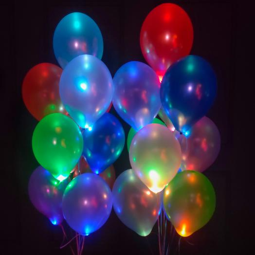 Разноцветные шарики металлик с мигающими разноцветными светодиодами 20 шт
