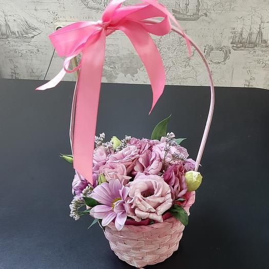 Корзинка с цветами Розовая нежность