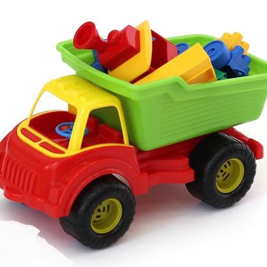Машинка Самосвал с конструктором, в сетке, 30х15х16 см