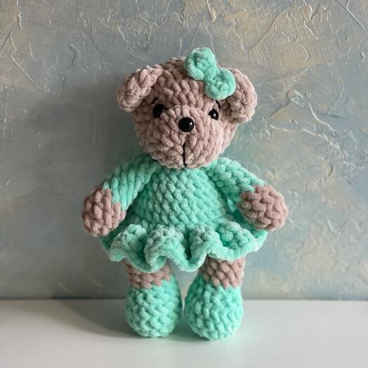 Мягкая игрушка плюшевый мишка в платье