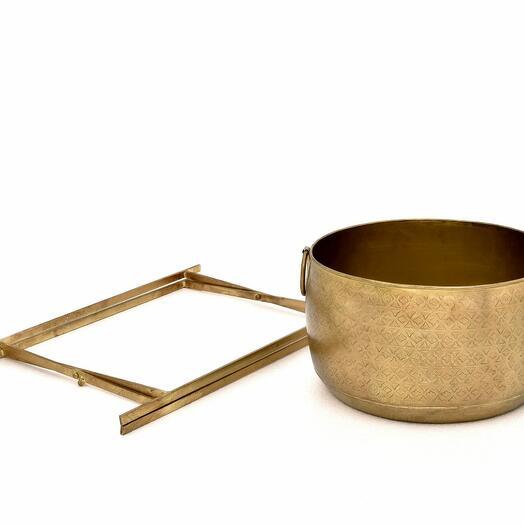 Металлическая круглая ваза с гравировкой на складной напольной подставке, большая/малая (Размер-Малая)