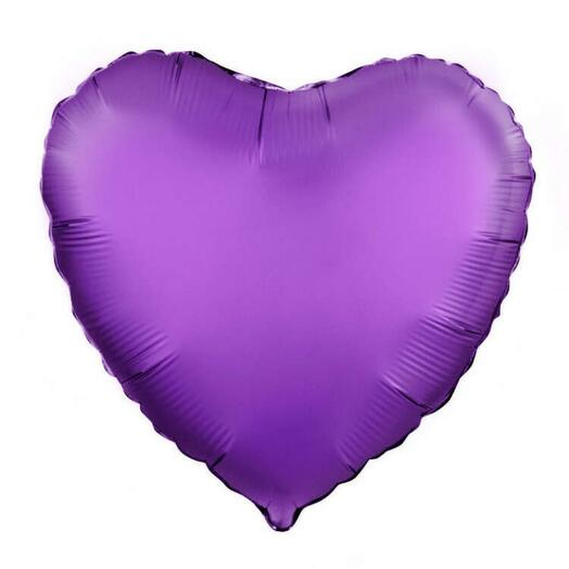 Flowers Lovers - шар сердце фольгированный фиолетовый 45 см