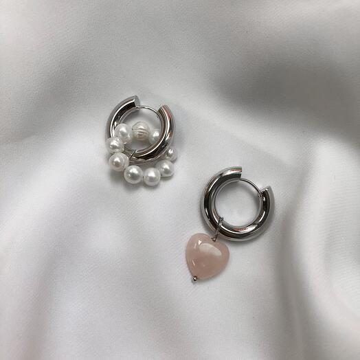 Серьги - кольца Leda hoops розовый кварц ? жемчуг - золото