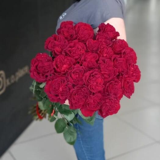 Монобукет из бардовых роз 25 шт