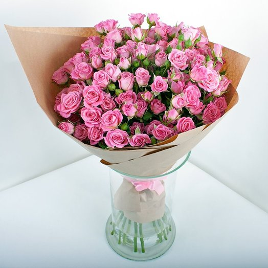 9 кустовых роз в крафт бумаге: букеты цветов на заказ Flowwow