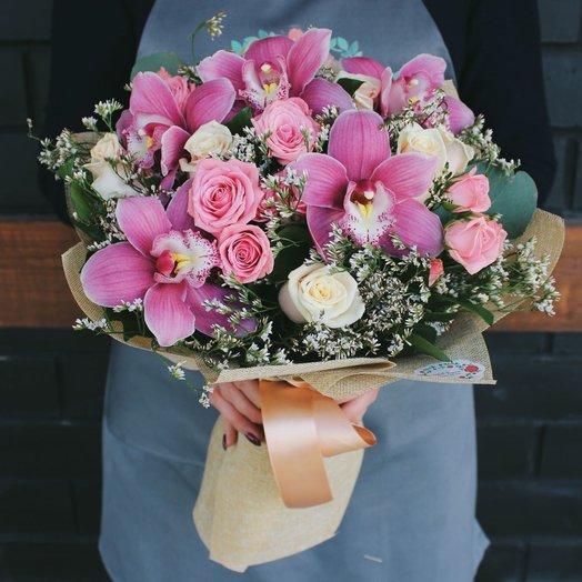 Сборный букет с орхидеями: букеты цветов на заказ Flowwow