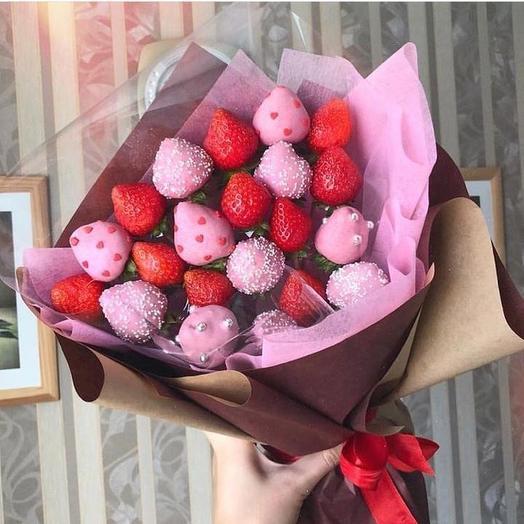 Сладкий клубничный букет «Жемчужина»: букеты цветов на заказ Flowwow