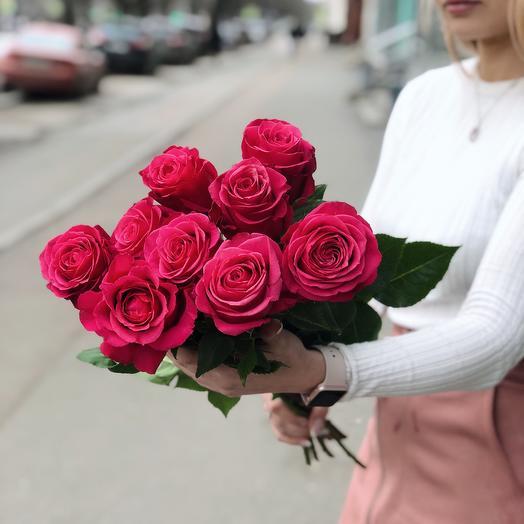Букет из 9 розовых голландских роз 50 см: букеты цветов на заказ Flowwow