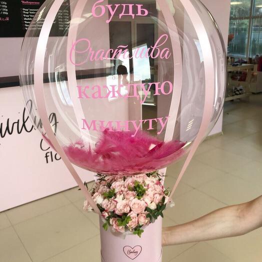 Шар бабл + коробка с цветами: букеты цветов на заказ Flowwow
