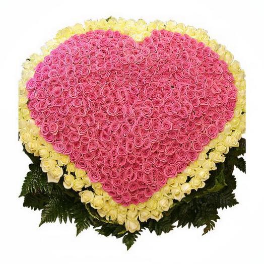 "Сердце из роз ""Самой нежной"": букеты цветов на заказ Flowwow"