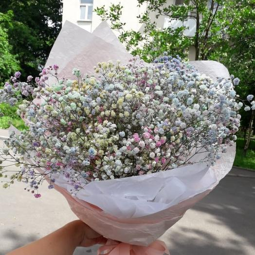 Моно букет из гипсофилы радужной: букеты цветов на заказ Flowwow