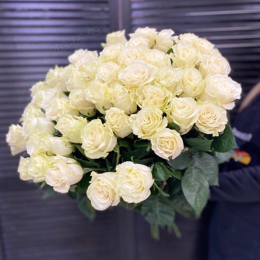 51 белая роза 60см
