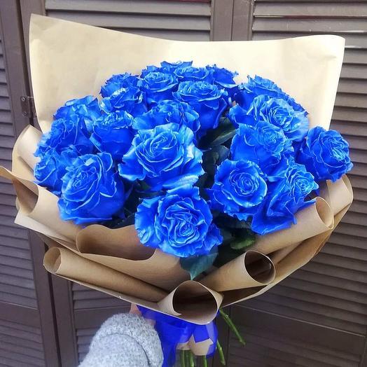 25 синих эквадорских роз