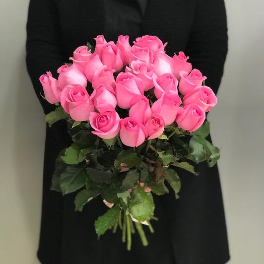 25  розовых роз 50см
