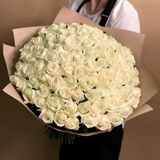 Букет из белых роз 101 шт