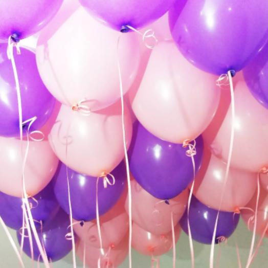 Воздушные шары розовые и фиолетоые, гелиевые шары 15 шт