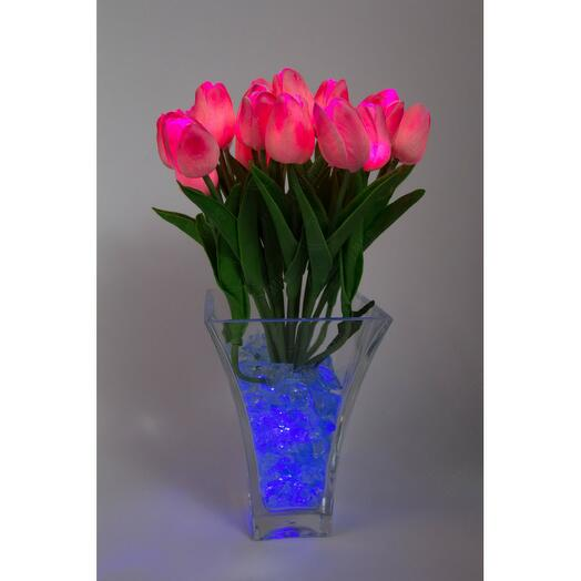 Ночник тюльпаны 21шт  Розовые(син)