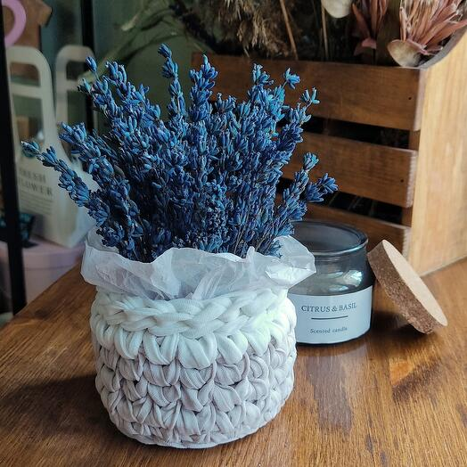 Stabilized lavender in a basket