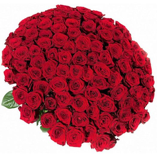 101 роза с атласной лентой