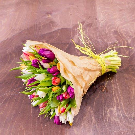 Тюльпан Микс 51шт: букеты цветов на заказ Flowwow