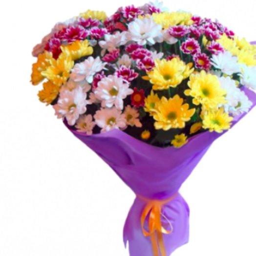 Разноцветный микс ромашек: букеты цветов на заказ Flowwow