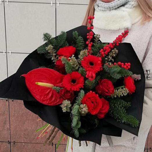 Яркий новогодний букет: букеты цветов на заказ Flowwow