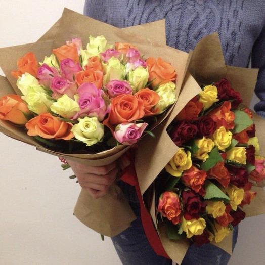 Яркий букет-микс из ароматных роз кении: букеты цветов на заказ Flowwow