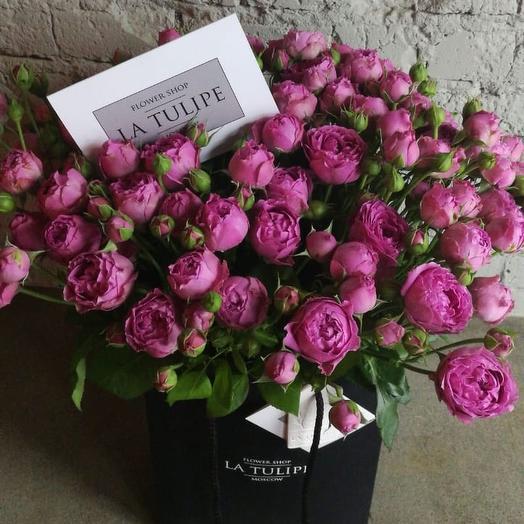 Роза Кустовая Мисти Баблс / 21 шт. /в фирменном пакете La Tulipe: букеты цветов на заказ Flowwow