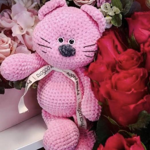 Розовый мишка ): букеты цветов на заказ Flowwow