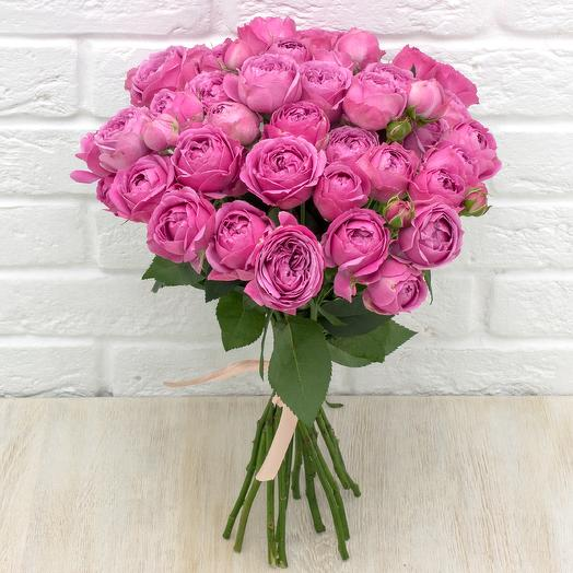 """15 пионовидных роз """"Мисти Баблс"""""""