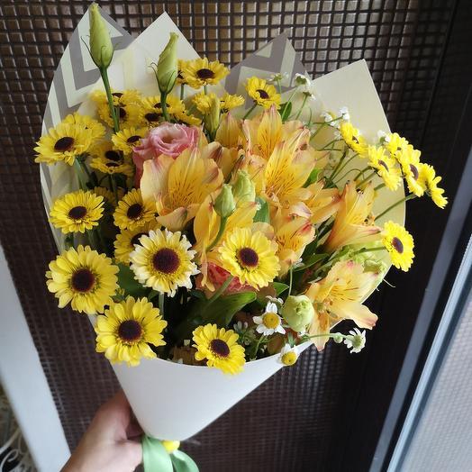 Солнечный день, альстромерия, эустома: букеты цветов на заказ Flowwow