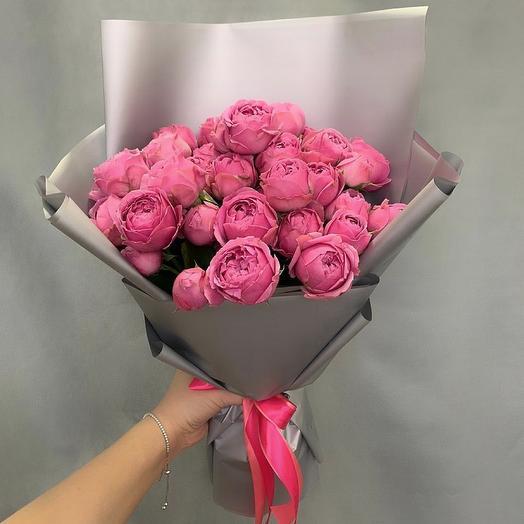Букет из 15 пионовидных роз Мисти Баблз