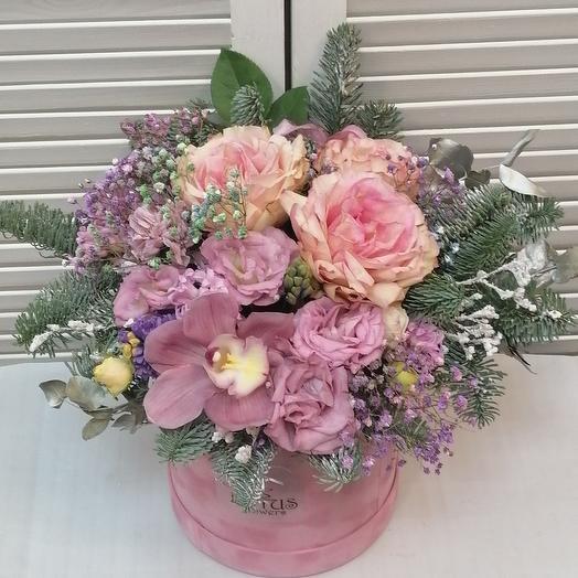 """Цветы в коробке""""розовый бархат"""""""