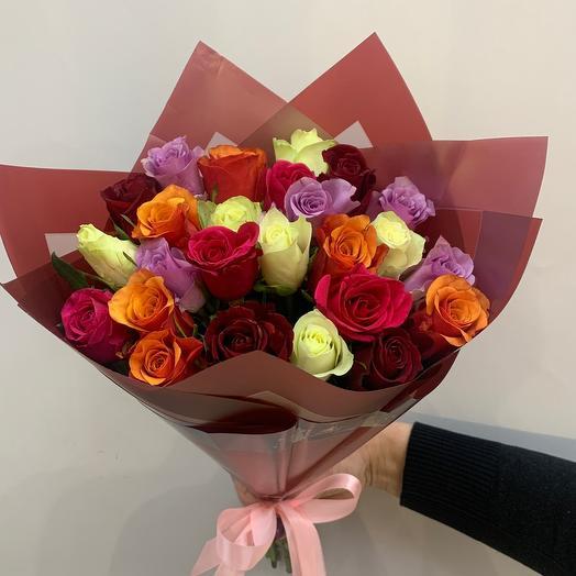 Роза микс 25 шт в упаковке