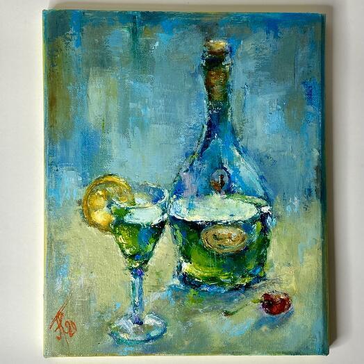 """Картина """"Бутылка вина с рюмкой и вишенкой"""" 30*20 см. масло, холст"""