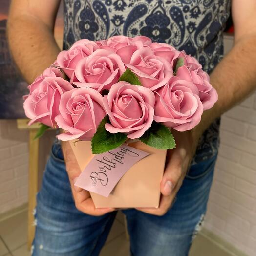 Букет из 19 мыльных роз