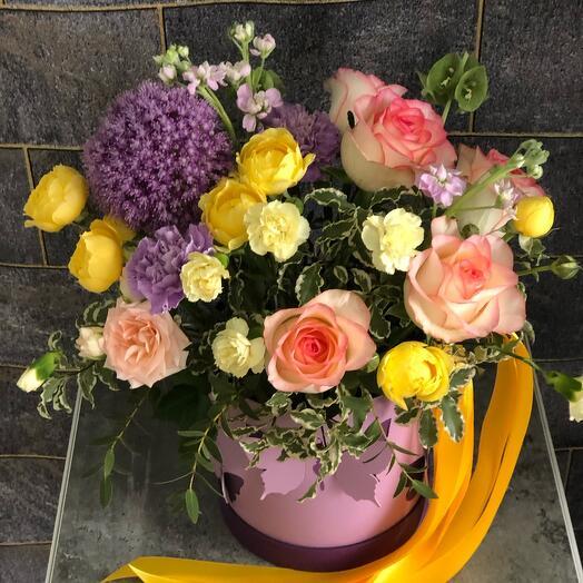 Цветы в коробке «Бобочки в летнем саду»