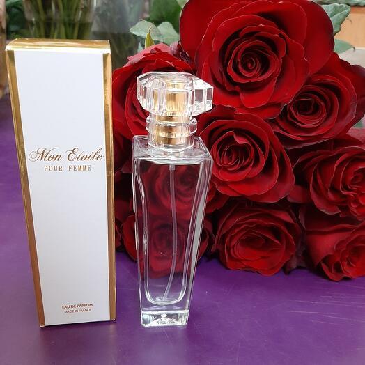"""11 красных роз и Парфюм 21ретро """"Это больше, чем признание в любви. 50 ml"""