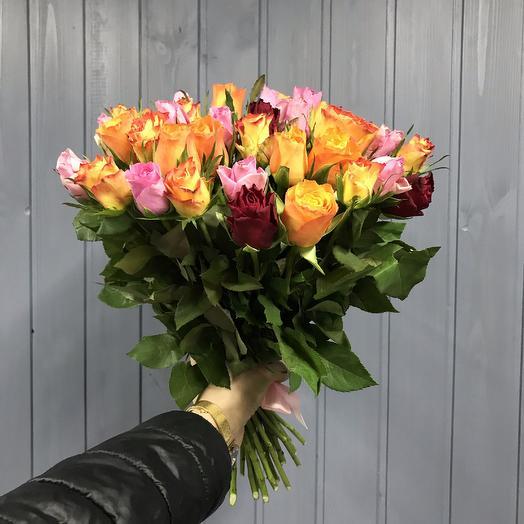 Букет из 41 разноцветной кенийская роза: букеты цветов на заказ Flowwow