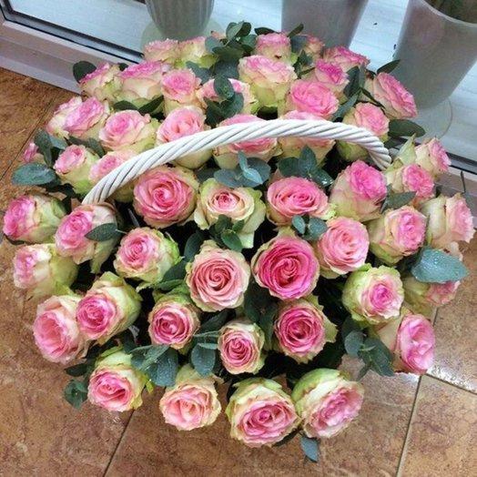 "Корзина роз Эсперанса ""Маэстро"": букеты цветов на заказ Flowwow"