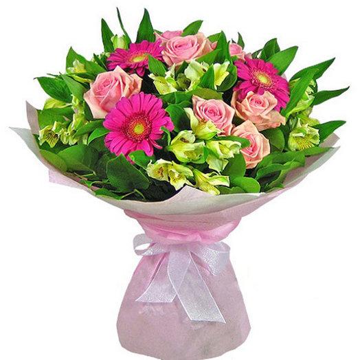 Букет из роз, гербер и альстромерий.: букеты цветов на заказ Flowwow