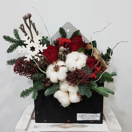 Новогодний конверт комплимент: букеты цветов на заказ Flowwow