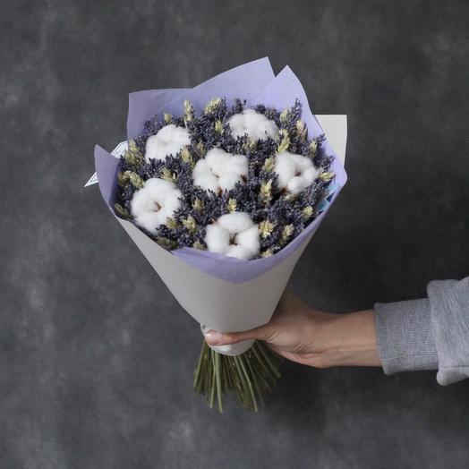 Букет из лаванды, хлопка и пшеницы: букеты цветов на заказ Flowwow