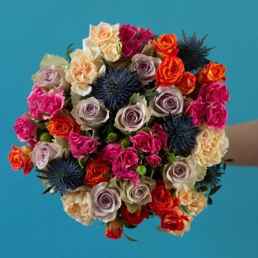 Розы морнинг дью и эрингиум: букеты цветов на заказ Flowwow