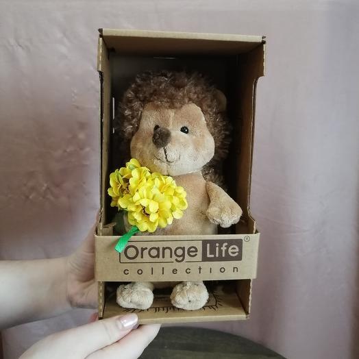 Ёжик Колюнчик с жёлтым букетом 20см: букеты цветов на заказ Flowwow