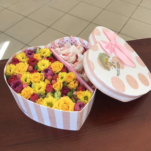 Романтическая коробочка с цветами и рафаэлло
